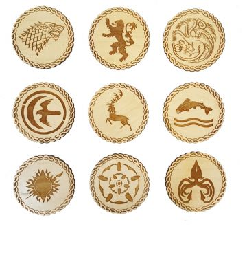 Game of Thrones Inspired Wooden Coasters - Set of 9 Engraved House Sigils